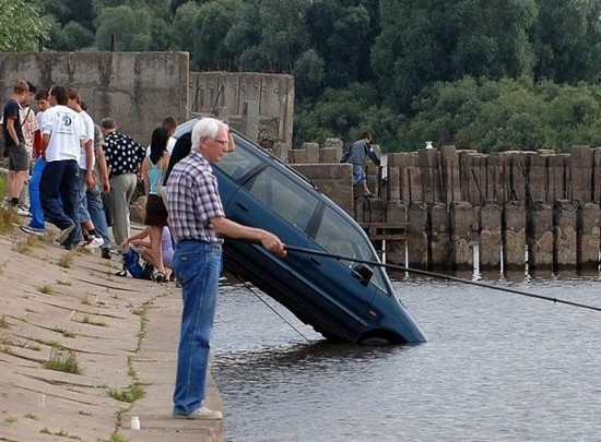 old man fishes car crashes